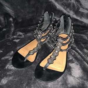 Maurices Black and Silver Sandals